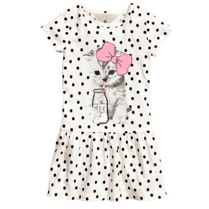 Little Kitty Print Polka Dot Dress