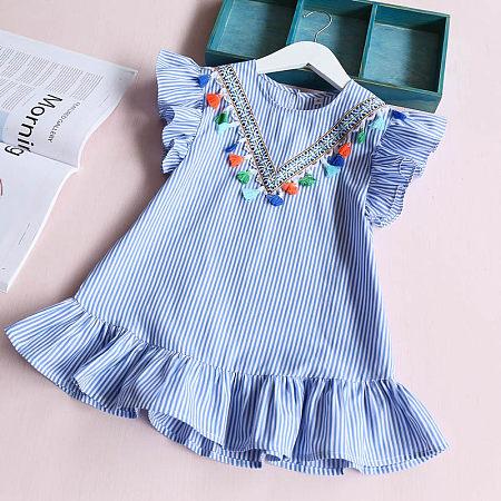 Girls Cute Tassels Falbala Dress