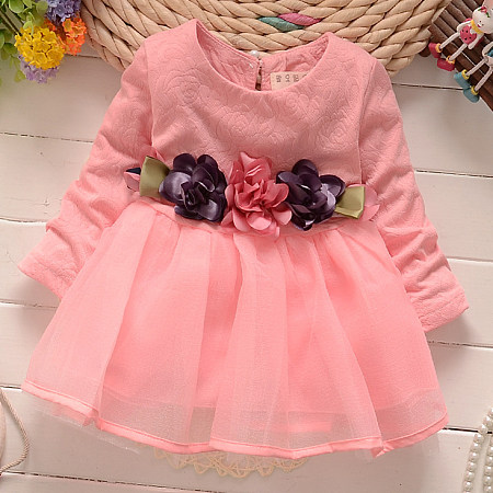 Colorful Flower Ornament Tulle Dress
