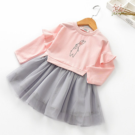 Adorable Bunny Print Tulle Dress