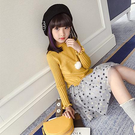 Knitted Pompon Embellished Star Pattern Tulle Dress