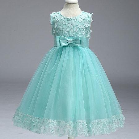 Flowers Embellished Bowknot Girls Princess Dress, light_green, DX17010302