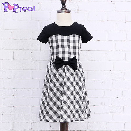 Black White Bowknot Girls Summer Plaid  Dress