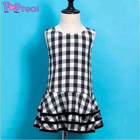 Black White Girls Summer Plaid  Dress