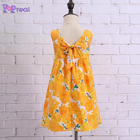 Yellow Floral Prints Girls Summer Dress