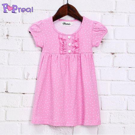 Pink Small White Dots Girls Summer Cotton Dress