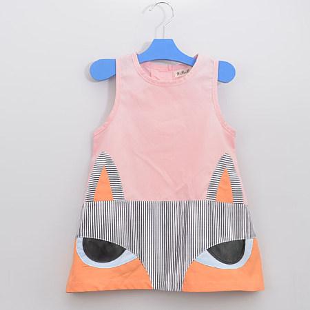 Fox Print Girls Summer Sleeveless Dress