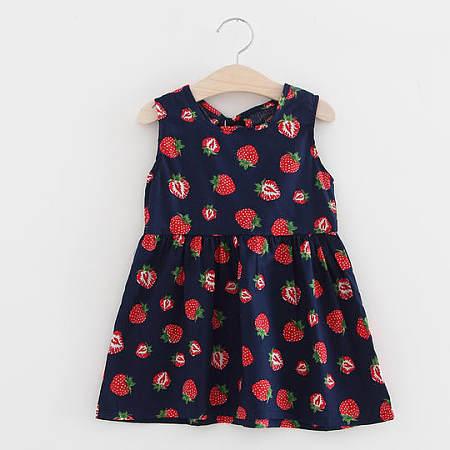 Strawberry Print Girls Summer Dress