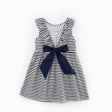 Stripes Bowknot Girls Summer Dress