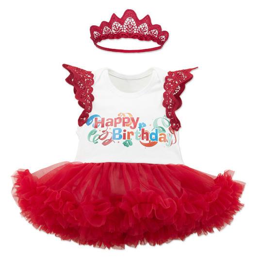 Lace Fly Sleeve Birthday Tutu Dress With Hairband