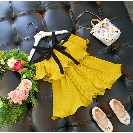 Yellow Cold Shoulder Pleated Dress