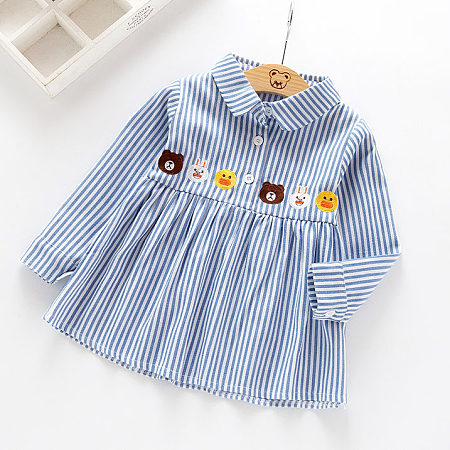 Animals Pattern Striped Shirt Dress