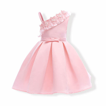Solid Pink One Shoulder Flowers Decorated Princess Dress