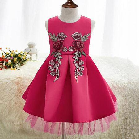 Embroidered Flower Sprig Tulle Girl Dress