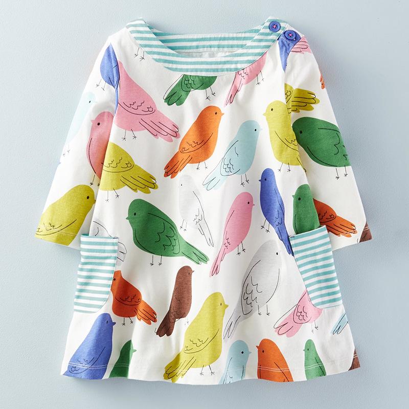Colorful Birds Pattern A-Line Dress