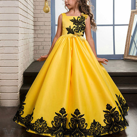 Elegant Applique Bowknots Full Length Princess Dress