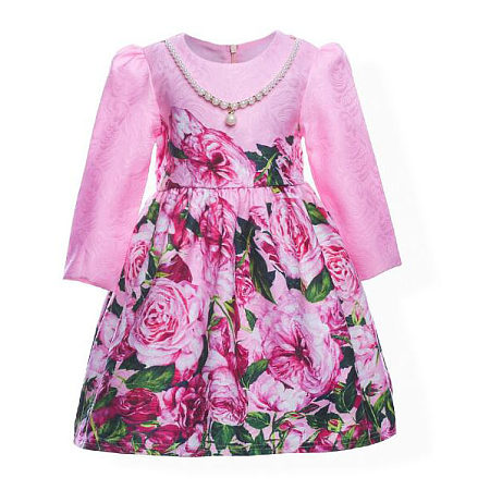 Chinese Rose Printed Dress With Attached Necklace
