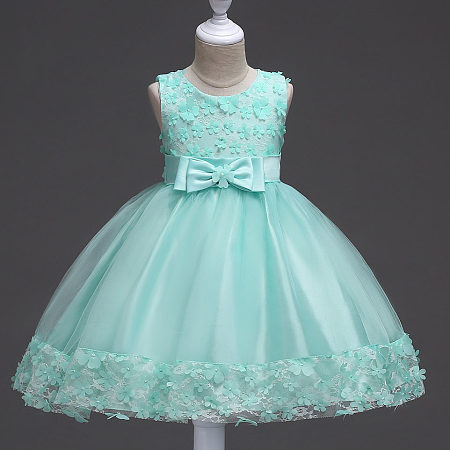 Small Flowers Appliques Lace Bowknot Princess Dress