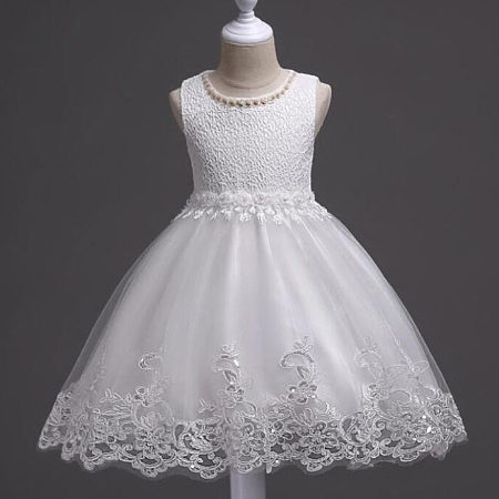 Embroidered Flowers Beads Decorated Princess Dress