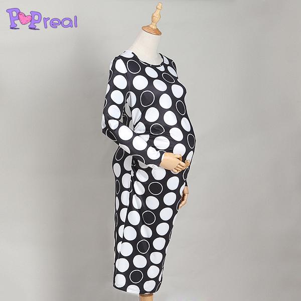 Black White Round Circle Patterns Maternity Dress