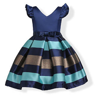 Fly Sleeve V-Neck Stripes Princess Dress