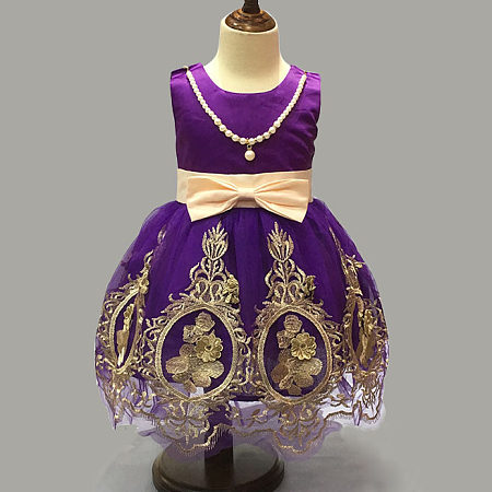 Embroidered Flowers Bowknot Princess Dress With Attached Necklace