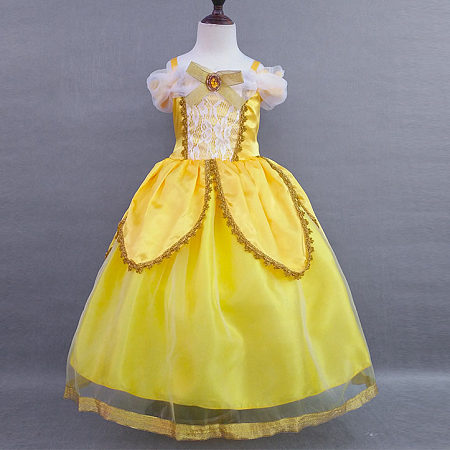 Yellow Cold Shoulder Lace Performing Dress