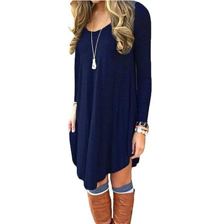 Long Sleeve Casual Loose T-Shirt Dress