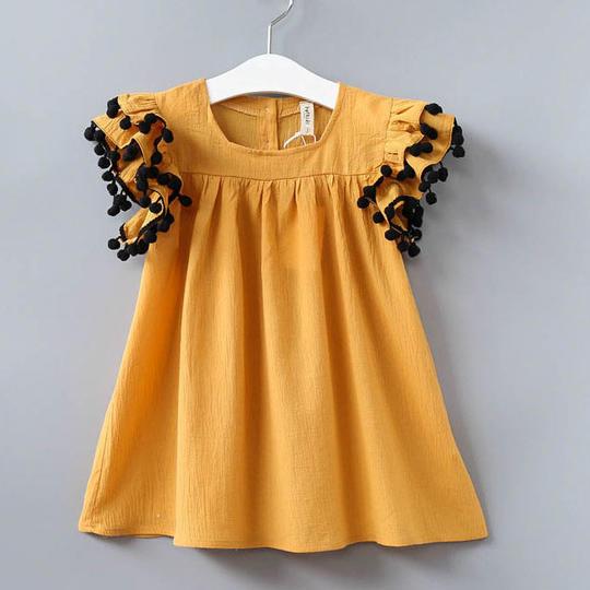 Fashion Girls Pure Color Dress