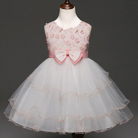 Flower Appliques Bowknot Layered Tulle Princess Dress