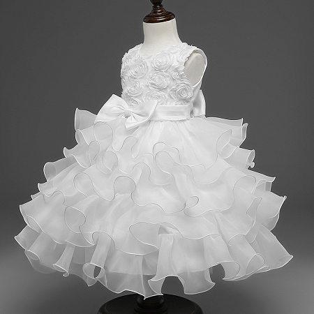 Bowknot Rose Pattern Ruffled Princess Dress