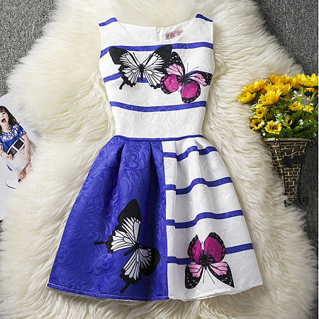 Butterfly Prints Sleeveless Dress