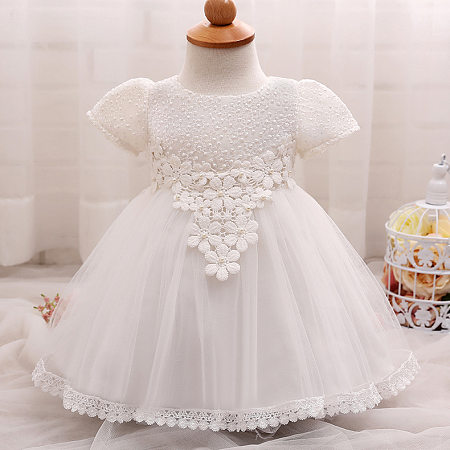 Applique Flowers Lace Tulle Princess Dress