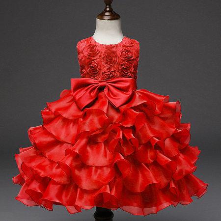 d68dc09d9646 Bowknot Rose Pattern Ruffled Princess Dress - popreal.com