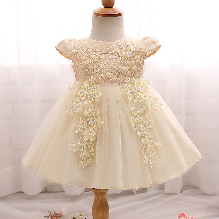 Embroidered Flowers Bowknot Tulle Princess Dress