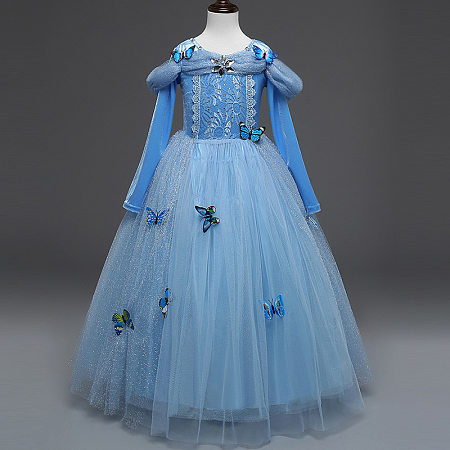 Exquisite Butterfly Appliques Embellished Floor-Length Princess Dress