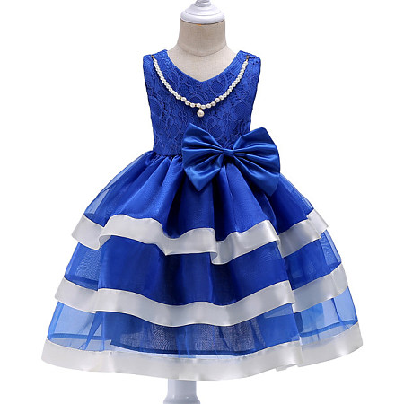 Exquisite Bowknot Beads Necklace Embellished Layered Princess Dress, dark_blue, DY17102516