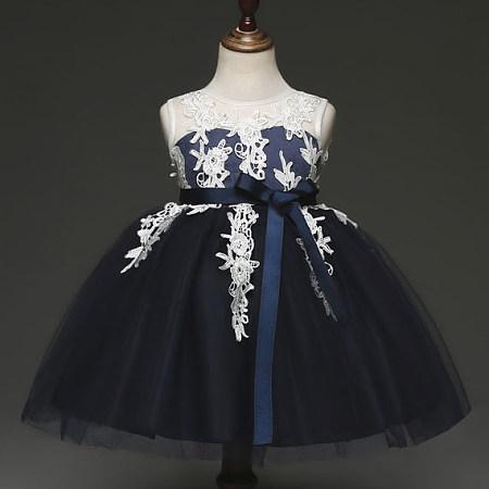 Lace Applique Bowknot Princess Dress