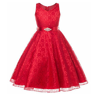 Rhinestones Embellished Lace Princess Dress