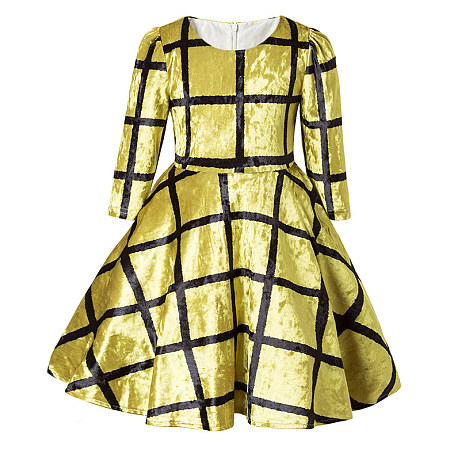 Luminous Velvet Plaid Half Sleeve Dress