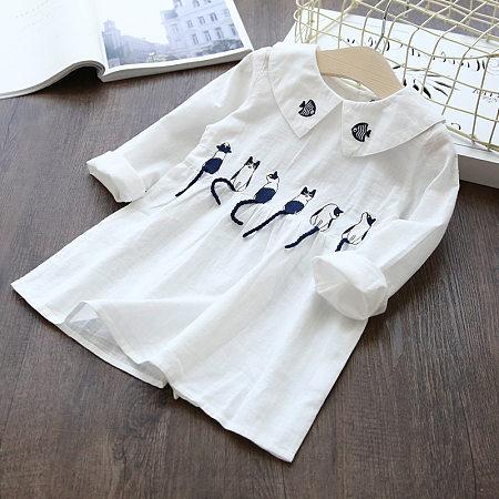 Kitty And Fish Pattern Shirt Dress
