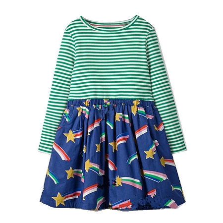 Cartonn Rainbow Pattern Stripes Dress