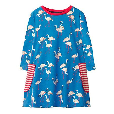Cartoon Flamingo Prints Stripes Dress