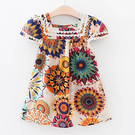 Sunflower Print Girls Summer Dress