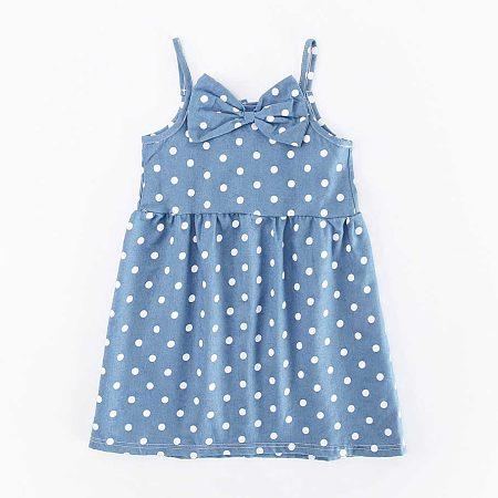 Popreal / Bowknot Polka Dots Denim Cami Dress