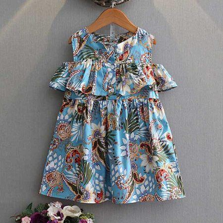 Girls Floral Print Summer Dress