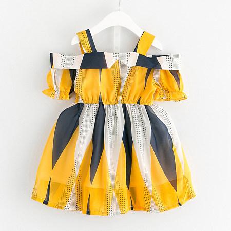 Girls Off Shoulder Chiffon Dress