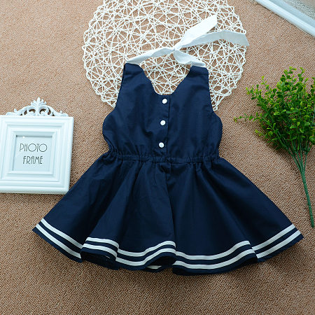 Falbala Stripe Print Patchwork Preppy Style Dress