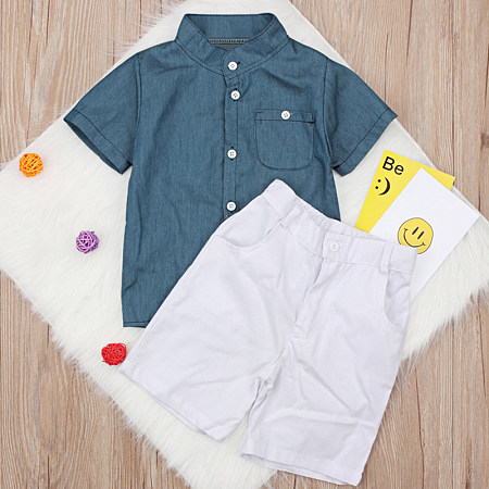 Fashion Single-Breasted Short Sleeve Pure Color Suit, 8206507