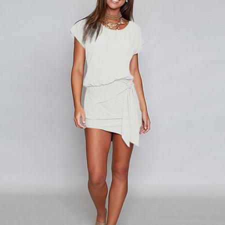 Round Neck  Bow Belt Plain Batwing Sleeve Extra Short Casual Dresses